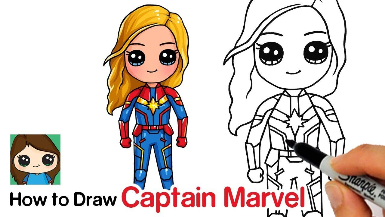 How To Draw Captain Marvel Avengers Endgame Cute Cartoon Drawings Cute Drawings