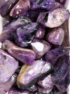 """紫龙晶 """"The Stone of Connectioin with Home"""" Charoite is a soul stone. It grounds the spiritual self, opening and balancing the crown chakra and also imparts courage to face your fears."""