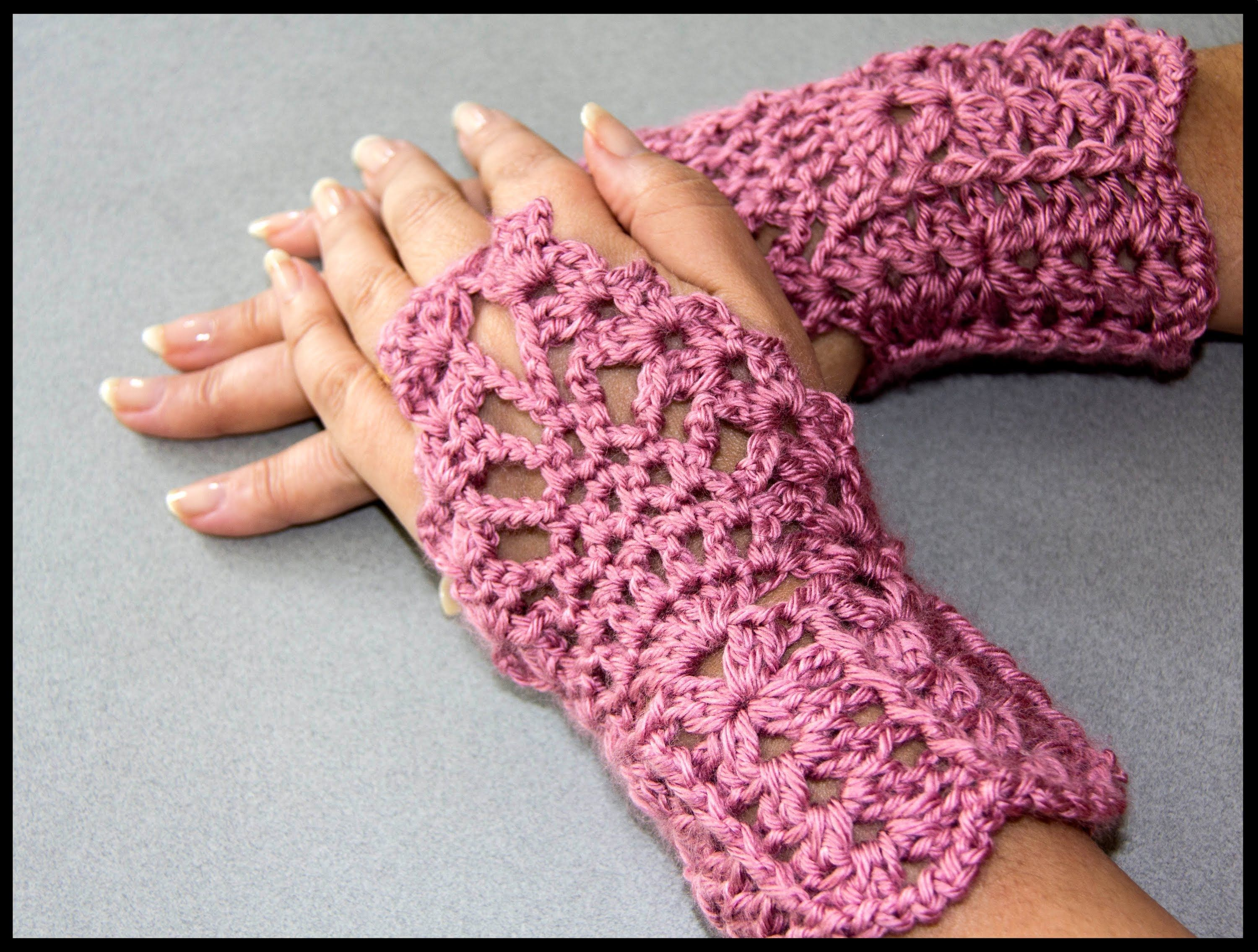 Crochet : Guantes sin dedos (Mitones) 2 wristlets or fingerless ...