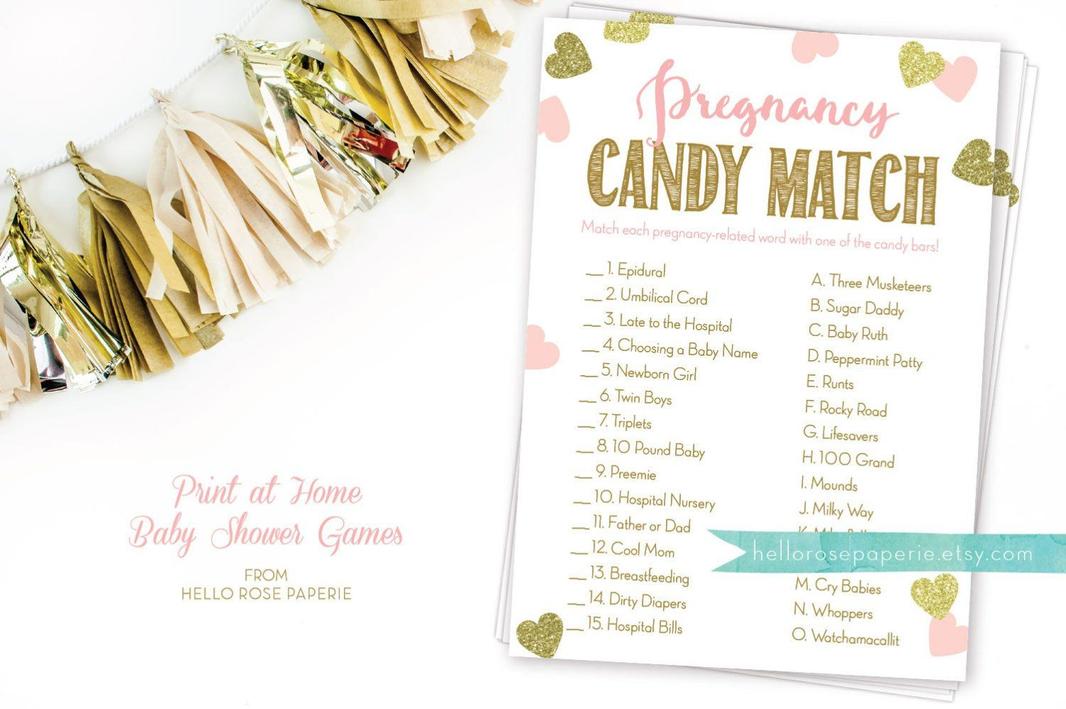 Pregnancy Candy Match Printable Game . Pink and Gold Baby Shower Girl . Instant Download