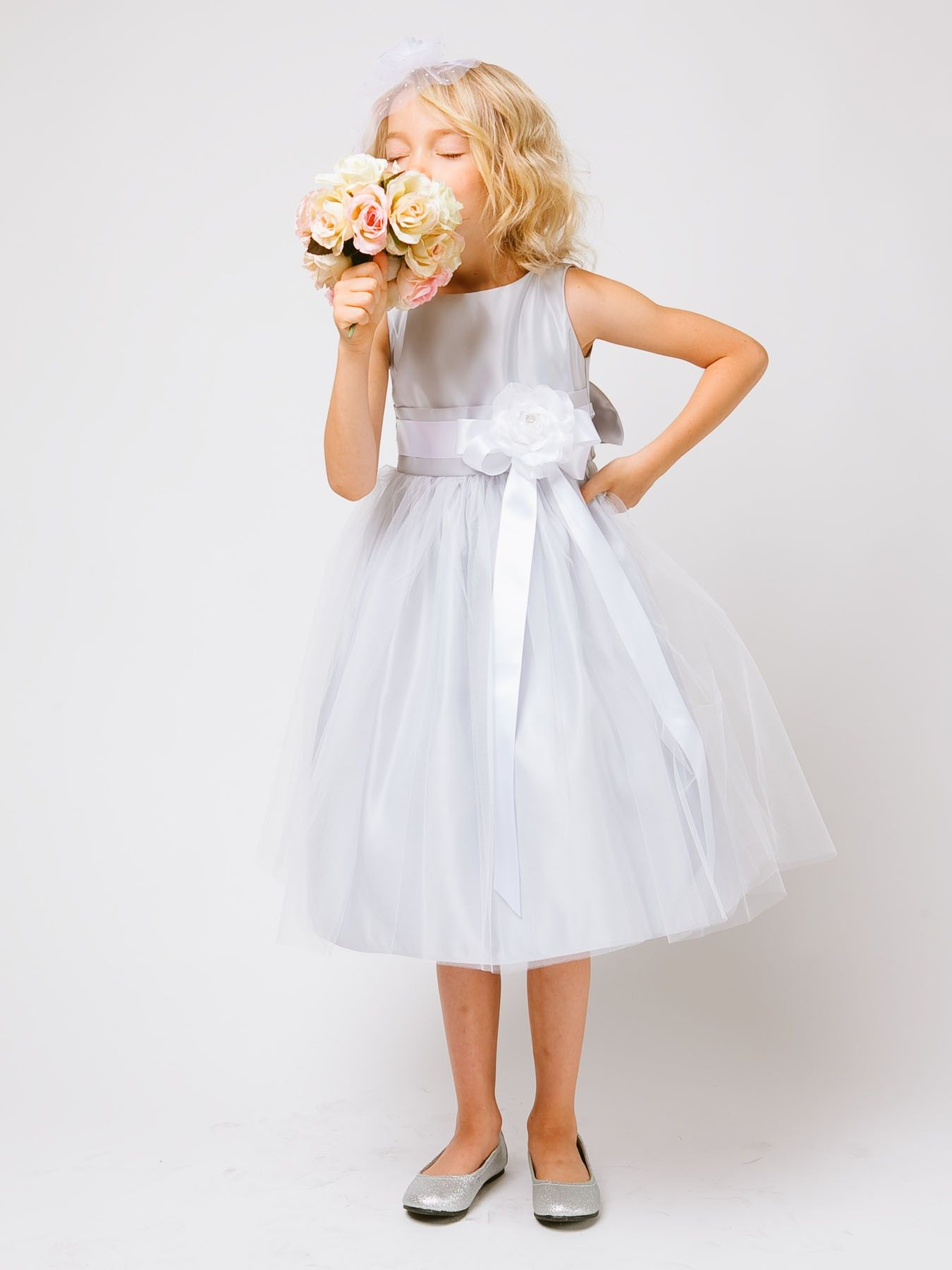 Silver Satin And Tulle Flower Girl Dress In Sizes Infants 12 In 11