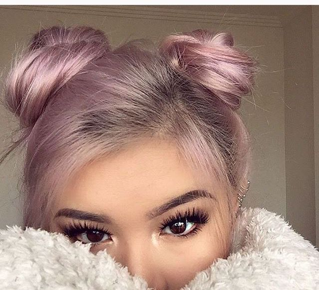 cute pink double buns - hair