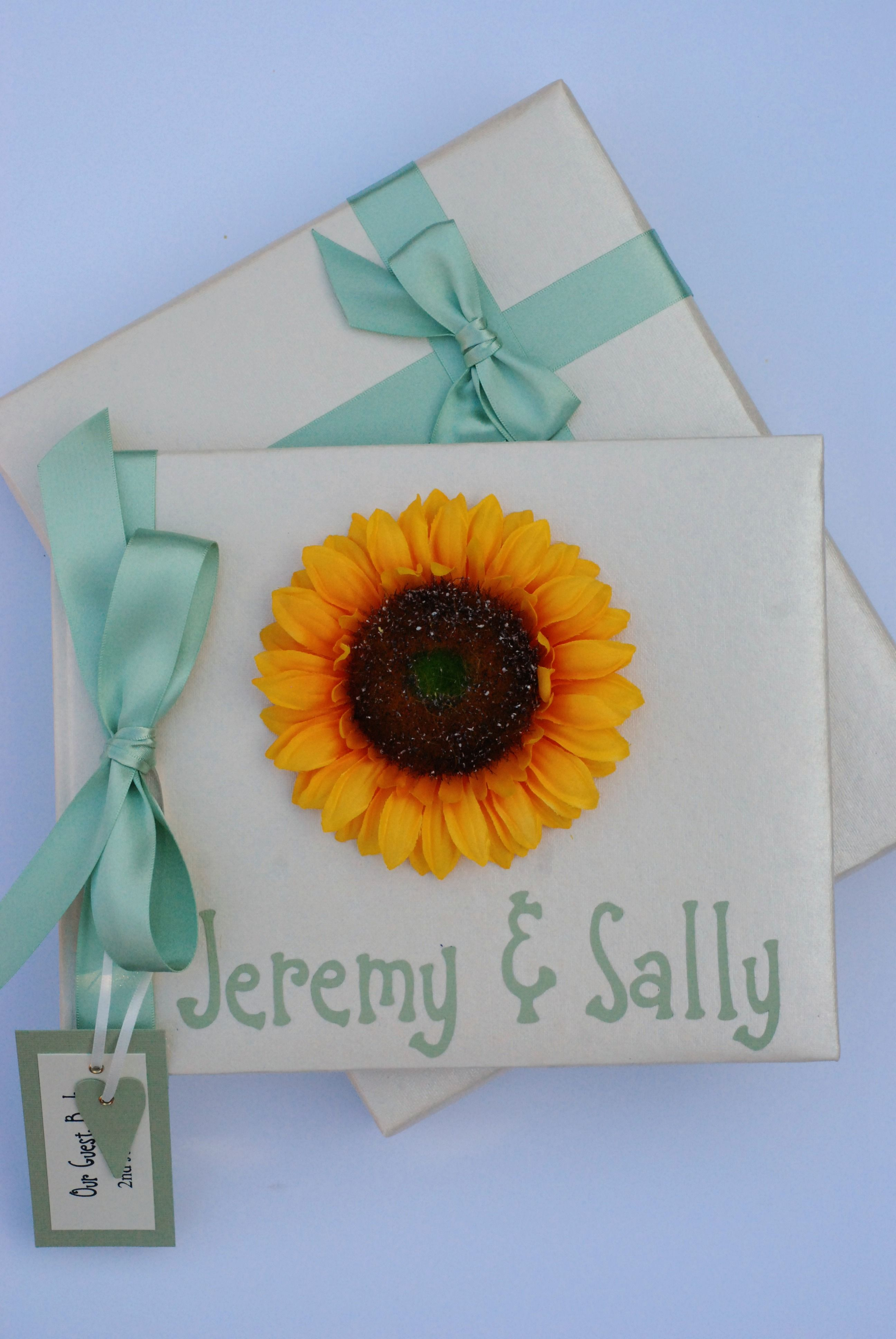 Sage Green and Sunflower Wedding Guest Book £25.00