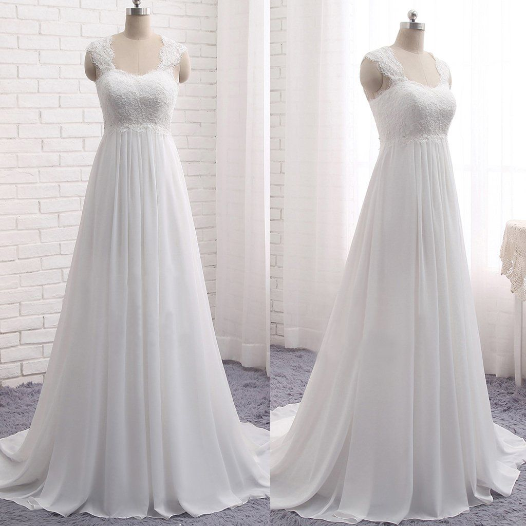 Cheap simple lace top chiffon long aline sleeveless empire waist