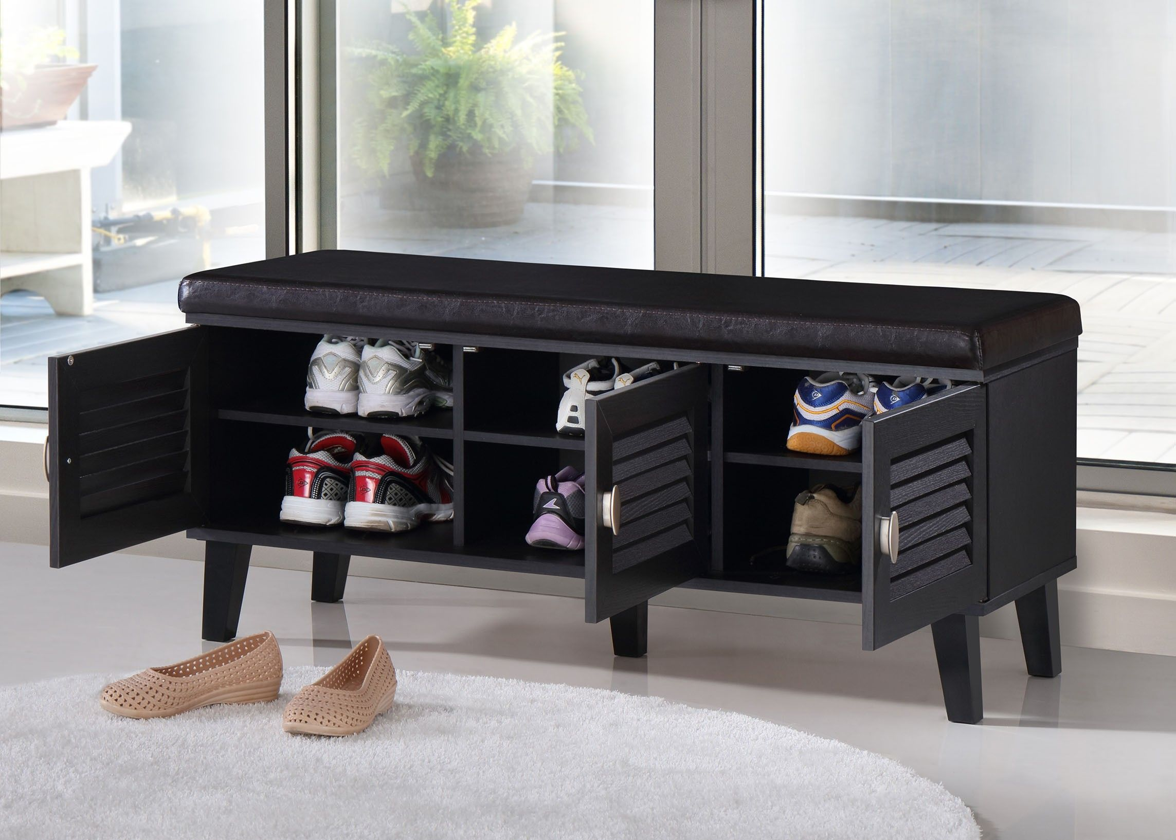 Baxton Studio Sheffield Three Door Shoe Cabinet With Cushioned Bench Bench With Shoe Storage Entryway Bench Storage Entryway Shoe Storage