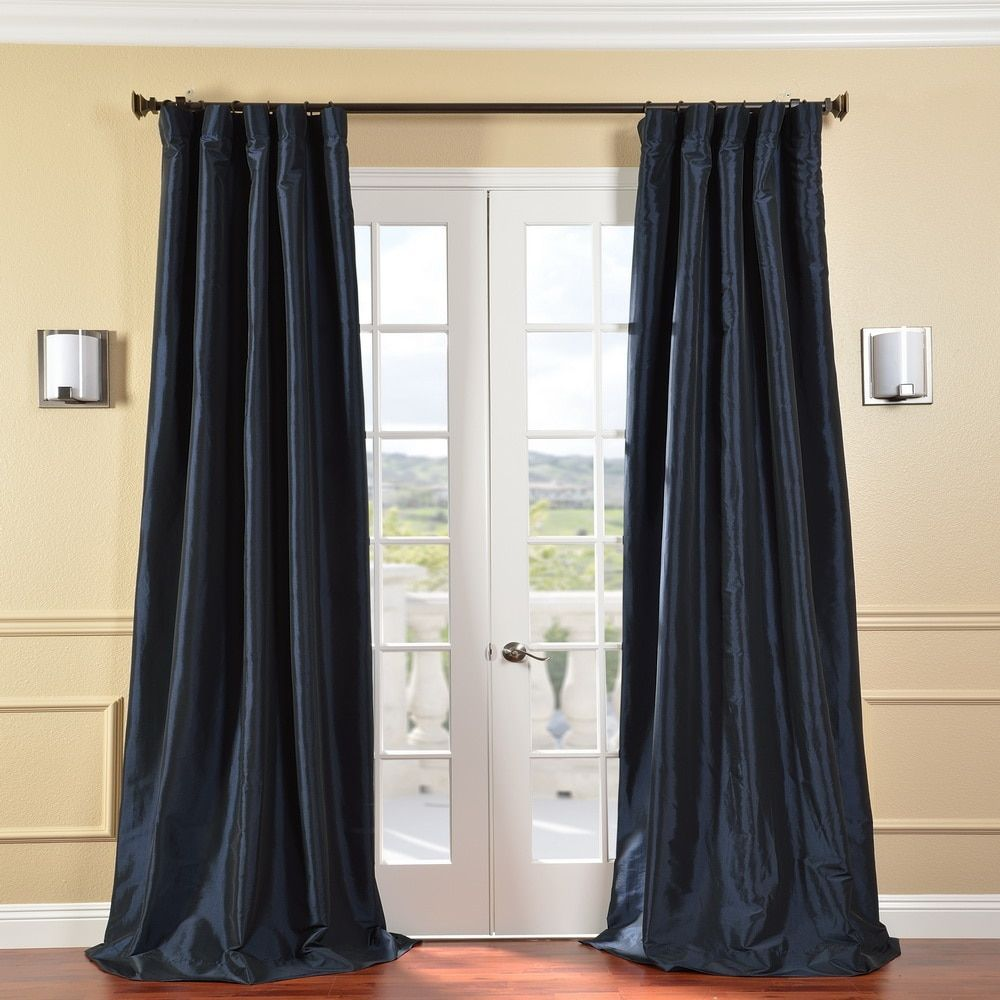 Exclusive Fabrics Solid Faux Silk Taffeta Navy Blue Curtain Panel 108 Inch