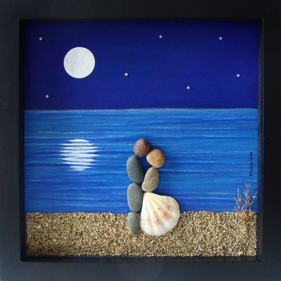 Unique Engagement Gift Wedding Personalized Present COUPLE Pebble Art Love Gifts