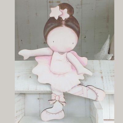 Siluetas madera infantil efecto pintado a mano bailarina - Siluetas madera infantiles ...