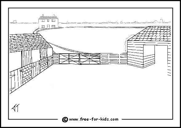 farm scene coloring pages - Barns Coloring Pages Farm Silos