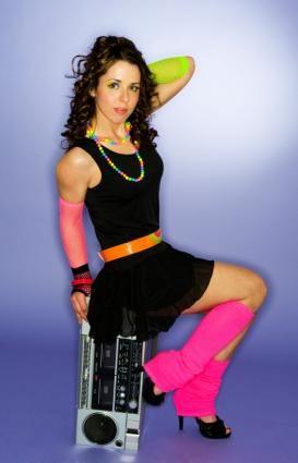 98e1cf536f16 Replay  80s Fashion Pictures   High heals   Leg warmers   Black dress    belt   arm warmers