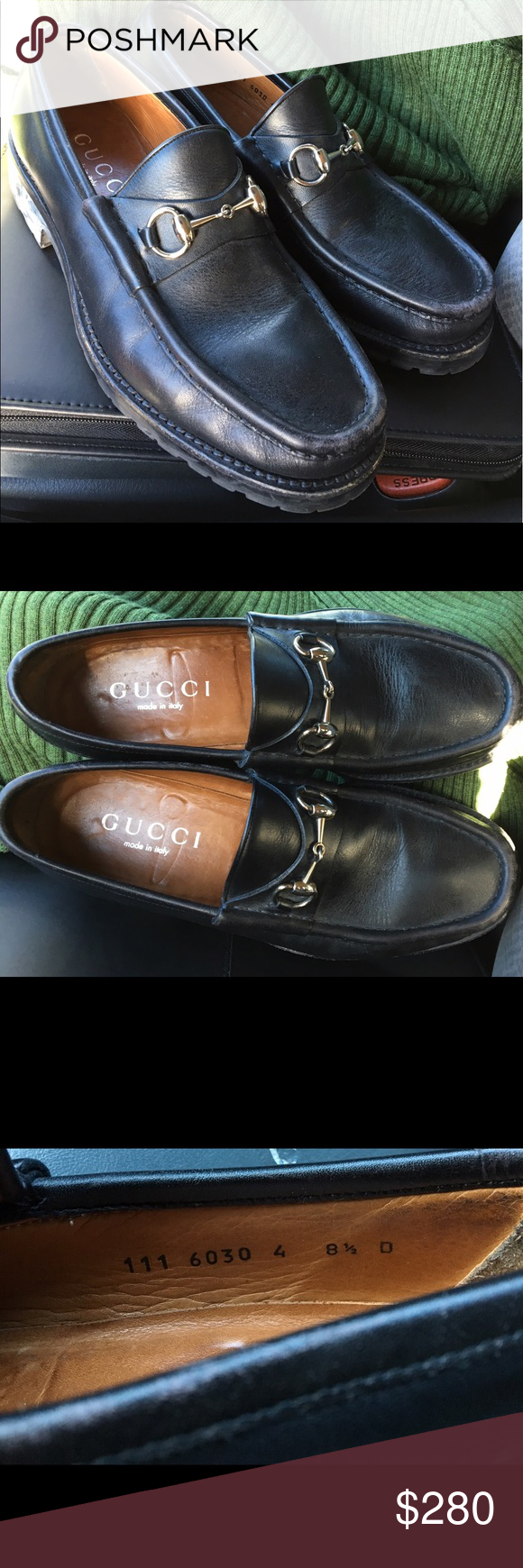 5f6145d5d14 Gucci Italy Mens Black Leather shoes Authentic Gucci Italy Mens Black  Leather Horsebit Buckle Loafers Shoes