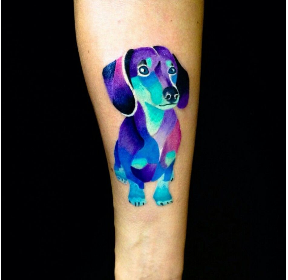 Geometric Dachshund Tattoo Dog Memorial Tattoos Dog Tattoos