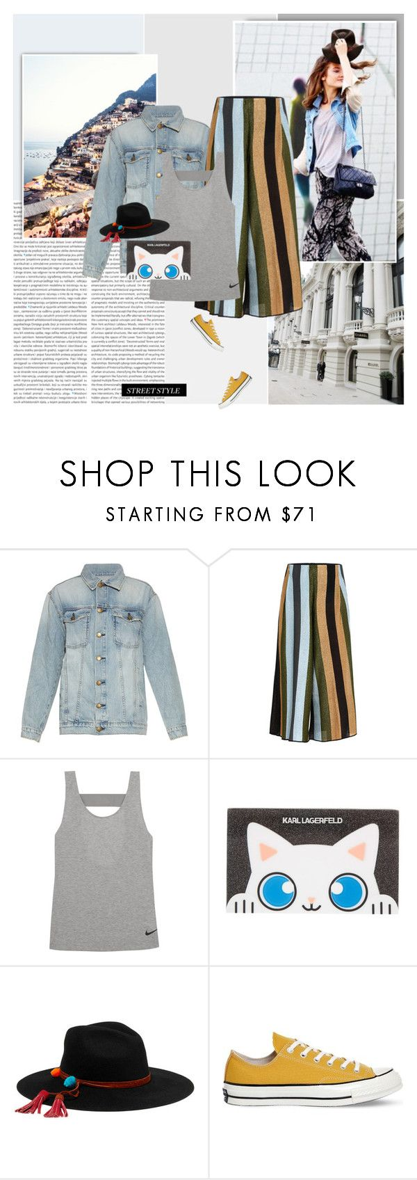 """""""In The City"""" by giko-is-giantsister ❤ liked on Polyvore featuring Mon Cheri, Current/Elliott, Circus Hotel, NIKE, Karl Lagerfeld, Sensi Studio and Converse"""