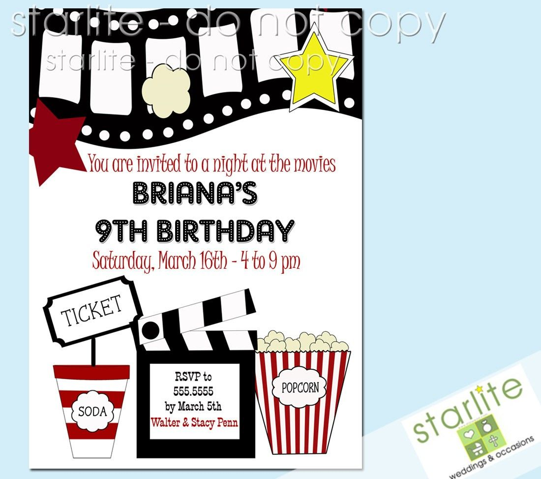 Printable Birthday Party Invitations Movie Theme Movie Party