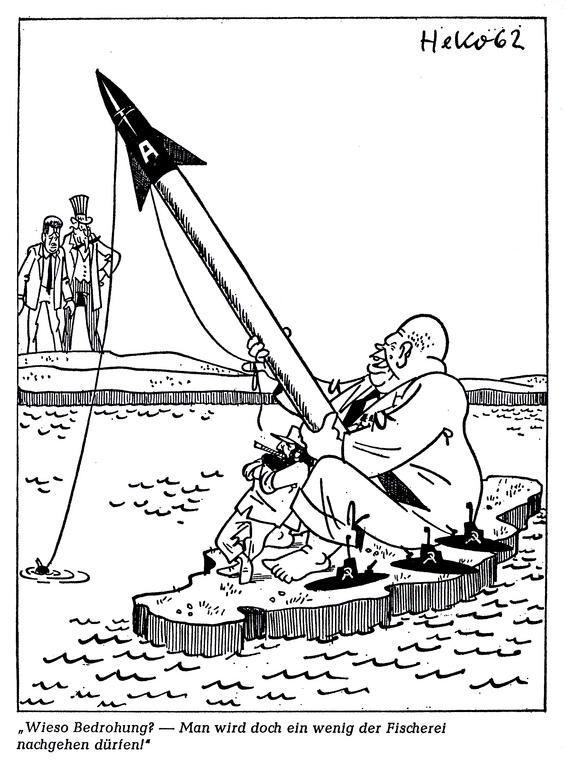 Cubacrisis 1962. Dit is een cartoon van de Cubacrisis