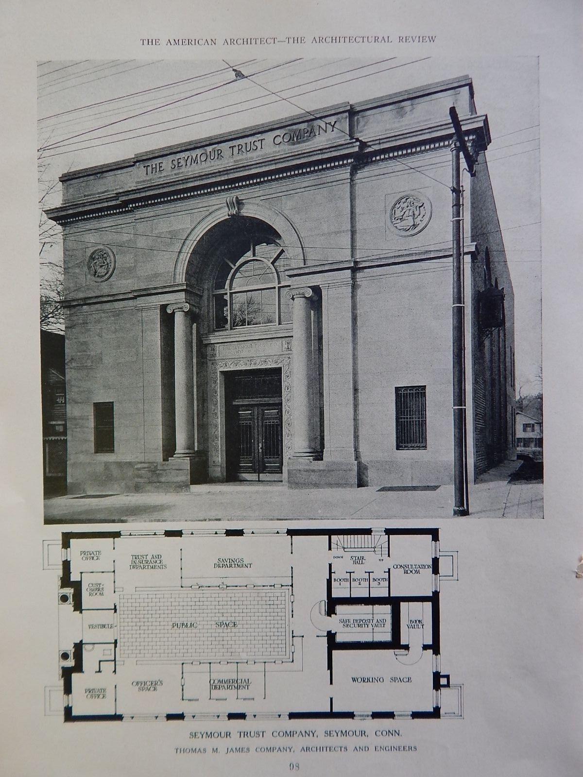 Seymour Trust Company Seymour Ct 1924 Lithograph