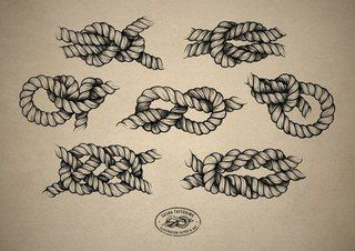 Simple Black Ink Rope Knot Tattoo Flash #ropeknots