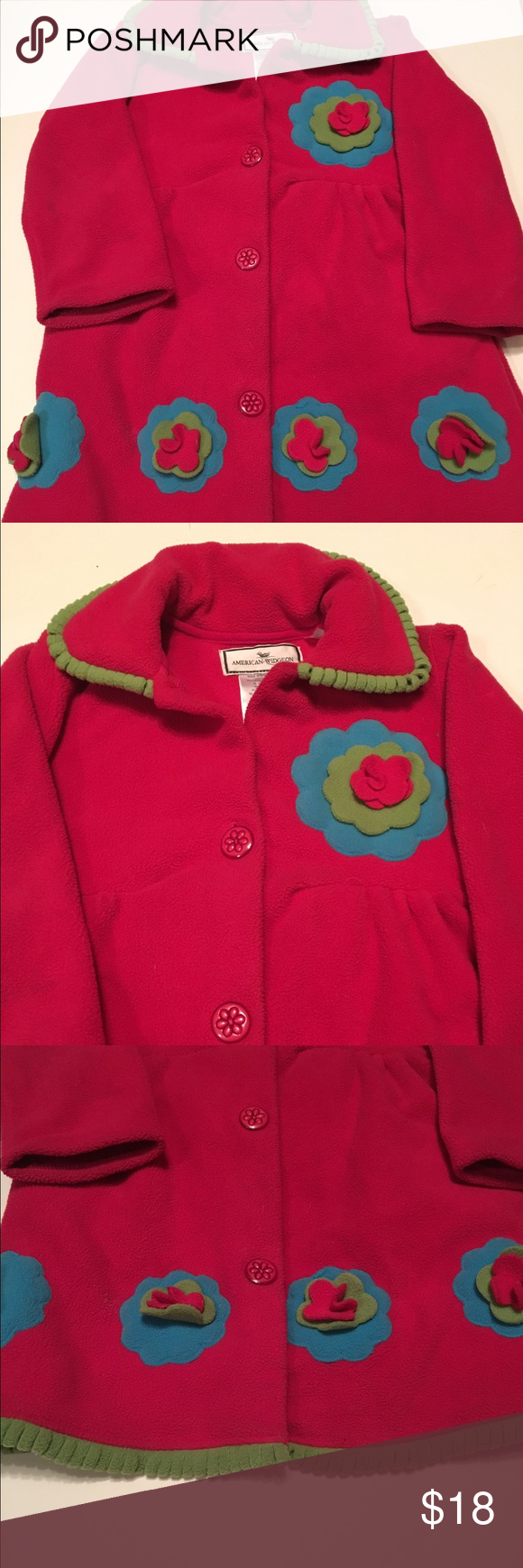 Sweet Jacket in girls size 6 Beautiful pink jacket with flowers American Widgeon Jackets & Coats Pea Coats