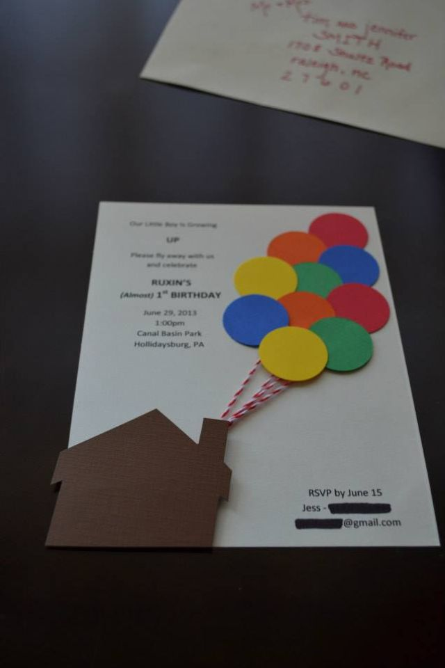 Up Themed Birthday Party Handmade Invitations