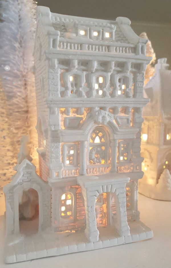 those dated ceramic christmas houses are easy to transform with the perfect chalk paint my favorite color is drop cloth by dixiebellepaint - Ceramic Christmas Houses