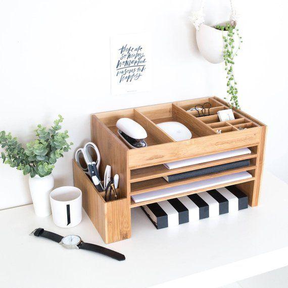Photo of Modern Wood Home Office Supplies Desk Organiser | Desktop Shelf Storage Tidy | Dock Station