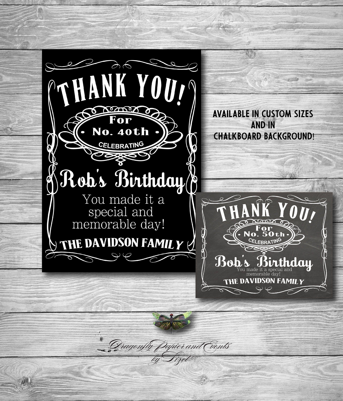 Liquor Theme Birthday Thank You Card 40th 50th 60th Whiskey Theme Printable Digita Birthday Thank You Cards Birthday Thank You How To Memorize Things