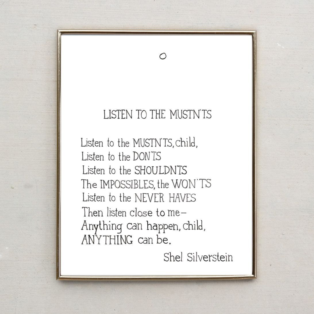 Shel Silverstein Poem Listen To The Mustnts Hand Lettered Water Color Print