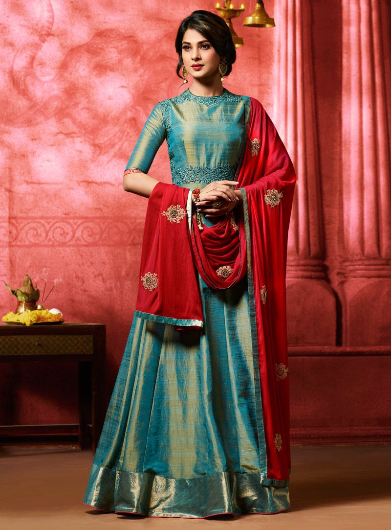 b8adfb9f2e Jennifer Winget Teal Banarasi Silk Floor Length Anarkali Suit 105131 ...