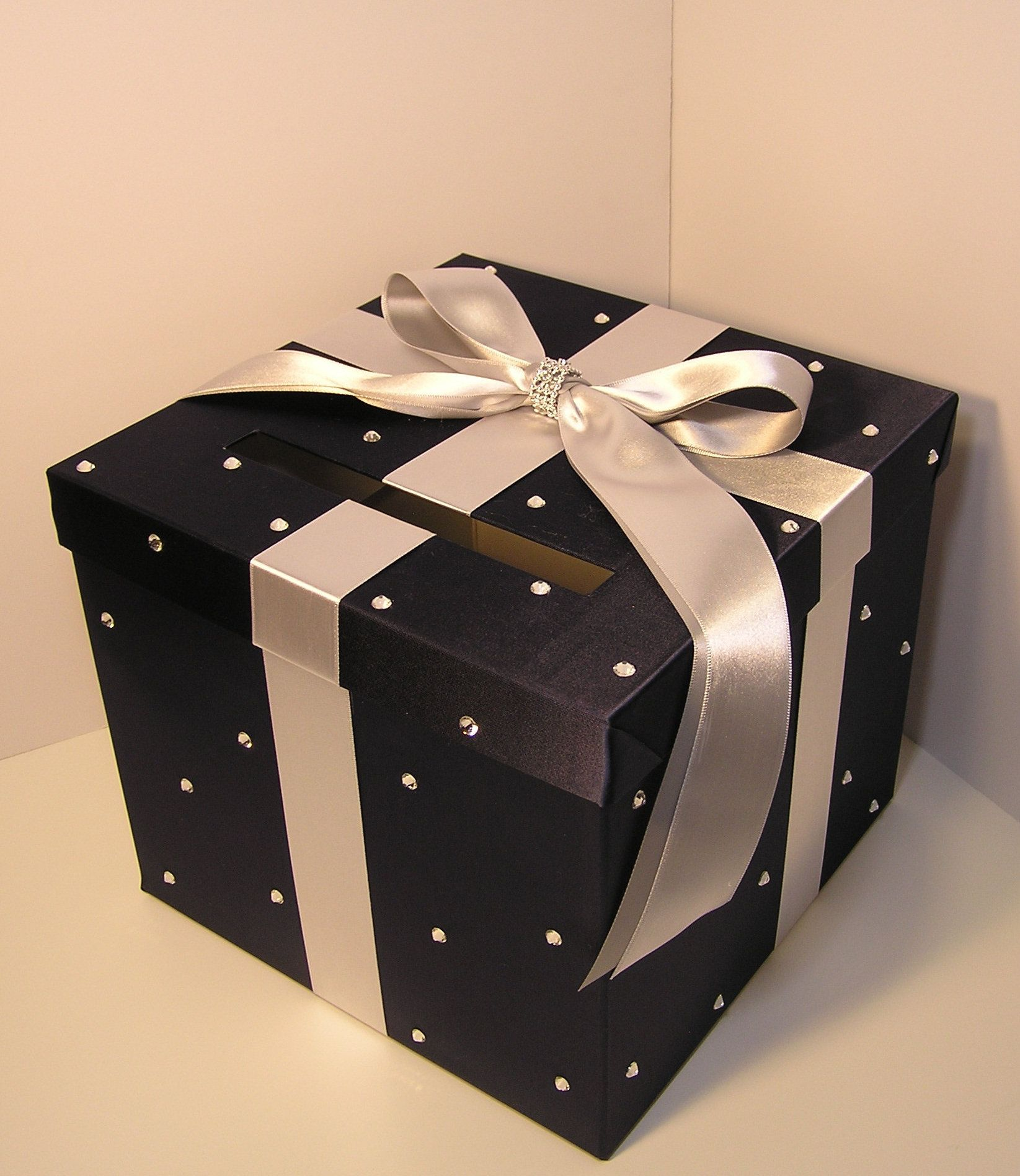 Wedding/Quinceañera/Sweet 16 Card Box Silver and Navy Gift