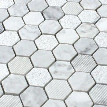 Naturstein Hexagon Mosaikfliesen Carrara Weiss Mosaikfliesen