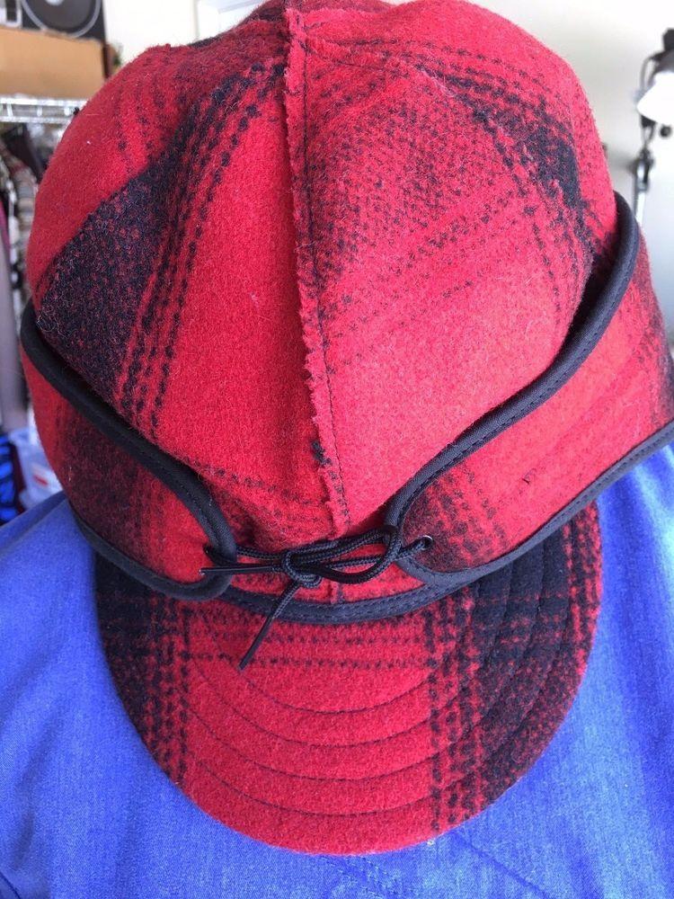 "HAT WOOL BLEND STORMY KROMER /""THE ORIGINAL/"" RED -WW ship BLACK PLAID CAP"