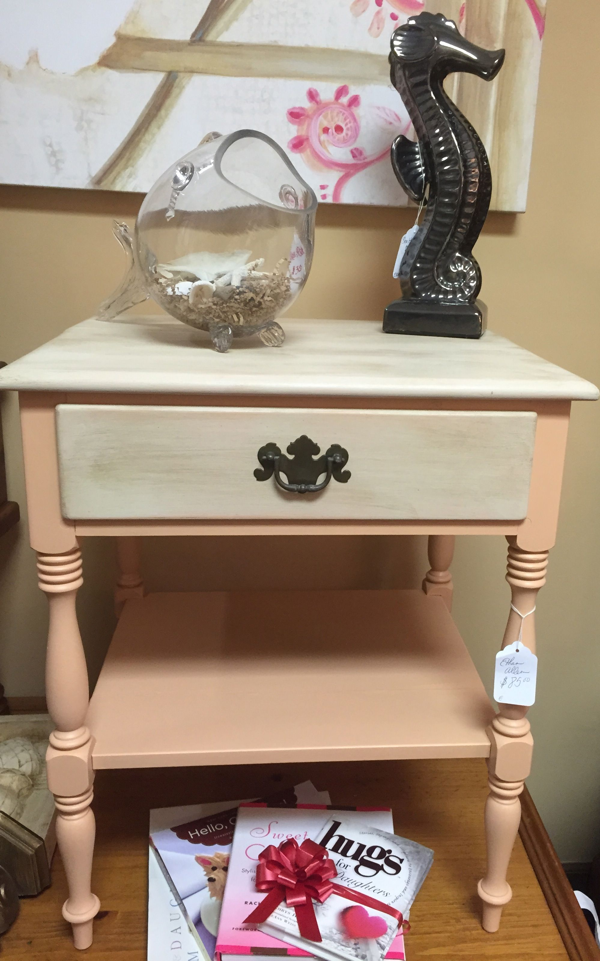 Ethan Allen Peach Night Stand Side Table