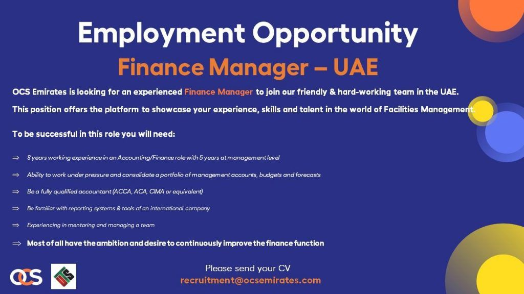 Finance Manager Uae Job Openings In 2020 Job Opening Finance Management