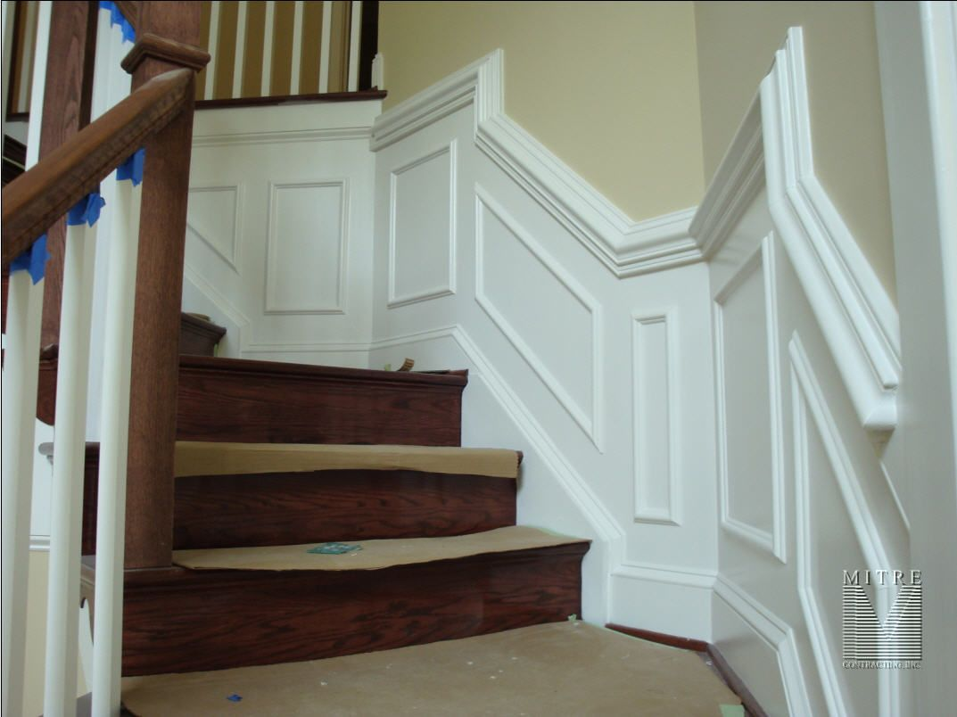 Awesome Chair Rail Staircase Part - 4: Chair Rail In Hallway Designs Photos | Shadowbox Panels U0026 2 Piece Chair Rail  In Stairway