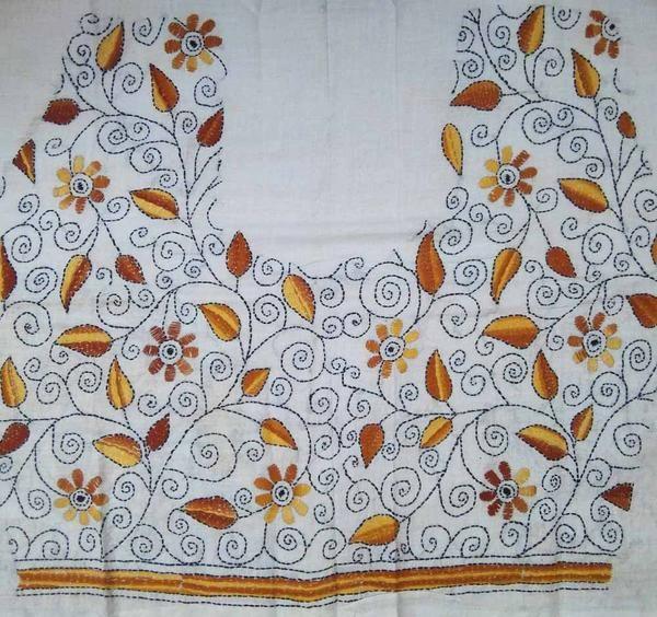 Cotton Blouse Fabric With Kantha Work Blouse Fabrics Pinterest