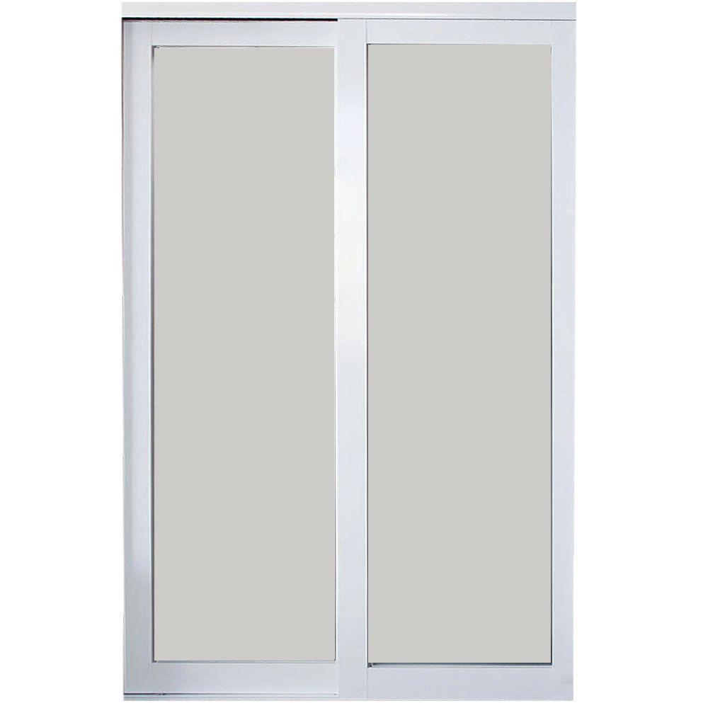 Contractors Wardrobe 72 In X 96 In Eclipse 1 Lite White Aluminum Frame Mystique Glass Interior Sl In 2020 Contractors Wardrobe Sliding Doors Interior Mirror Interior