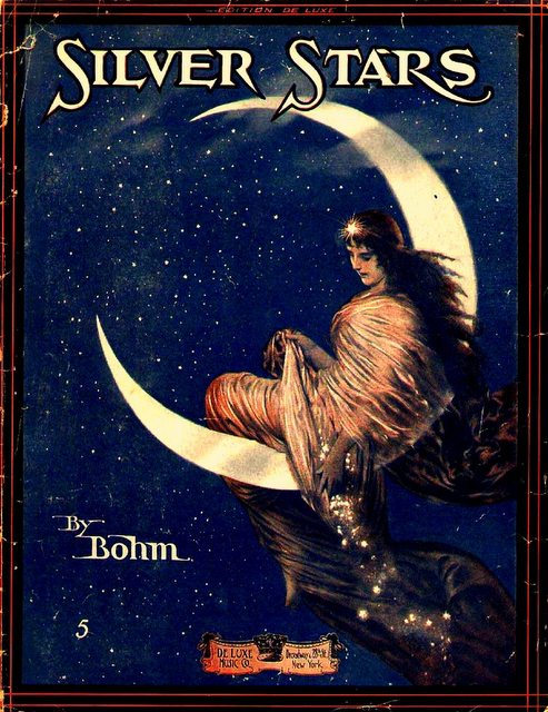 1916 Sheet music art, DeLuxe Music Co, Carl Bohm (German composer/pianist, 1844-1920) ~ 'Silver Stars'