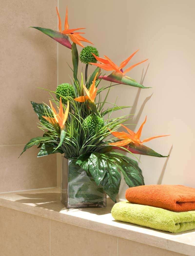 Birds of paradise and alliums in a glass cube rtfact Floral creations