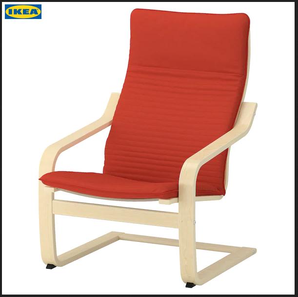 Armchair Birch Veneer Knisa Orange Red Orange Ikea Poang Chair Ikea Armchair