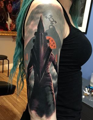 3f0a51c2c #Silent Hill #Pyramid Head #sleeve #color #top #best #ink #tattoo #artists  #Dublin #Ireland #horror #scary #surrealism