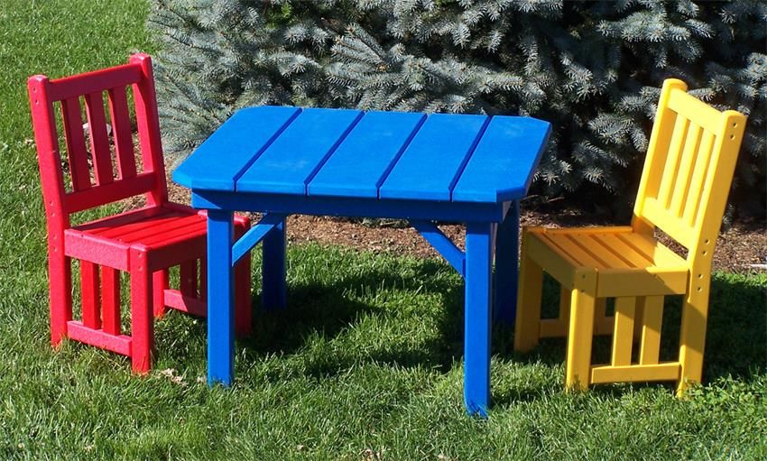 Excellent Amish 28 Childs Poly Square Table Summer Colors By Inzonedesignstudio Interior Chair Design Inzonedesignstudiocom