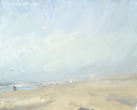 Seascape winter 11 Blue sky and birds available, painting by artist Roos Schuring