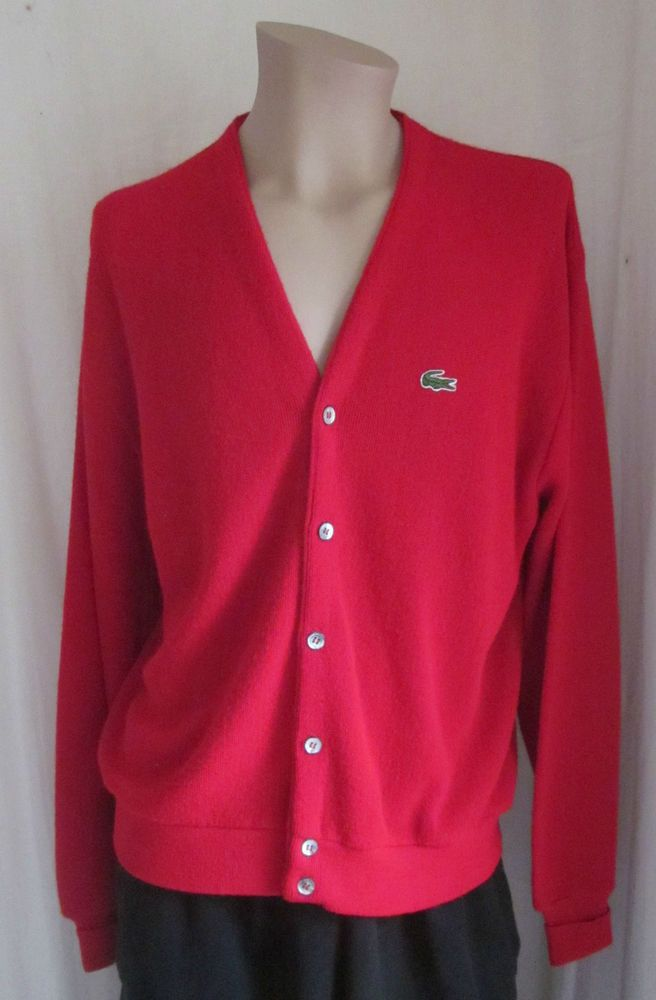 IZOD LACOSTE Red VINTAGE 100% Orlon Alligator Cardigan Sweater L Large USA #IzodLacoste #Cardigan