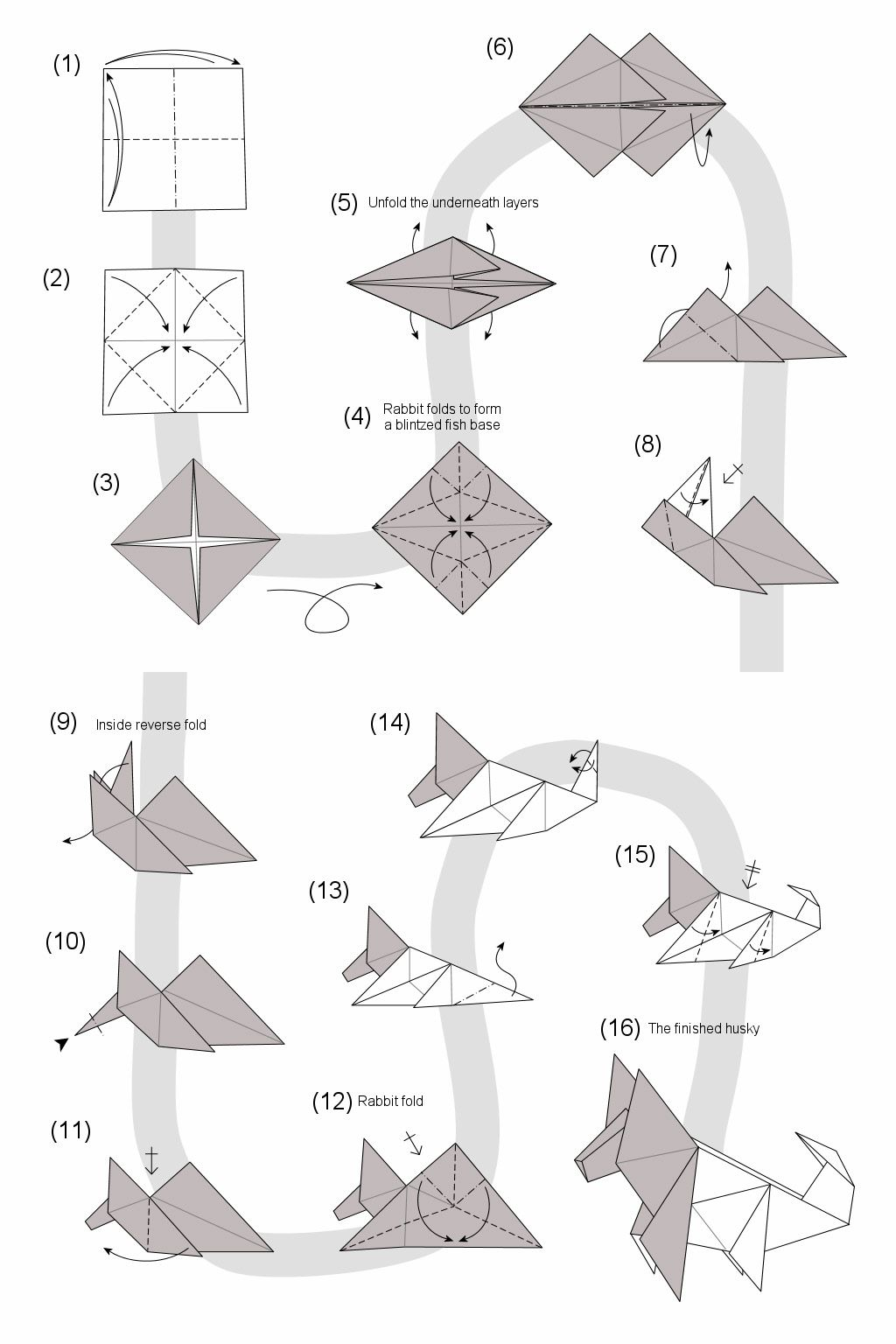 Origami Wolf Instructions Diagram Biology Leaf Structure Husky Nice Place To Get Wiring