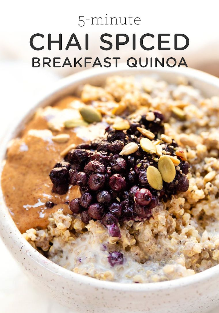 5 Minute Chai Spiced Breakfast Quinoa Simply Quinoa Recipe Quinoa Breakfast Recipes Quinoa Recipes Breakfast