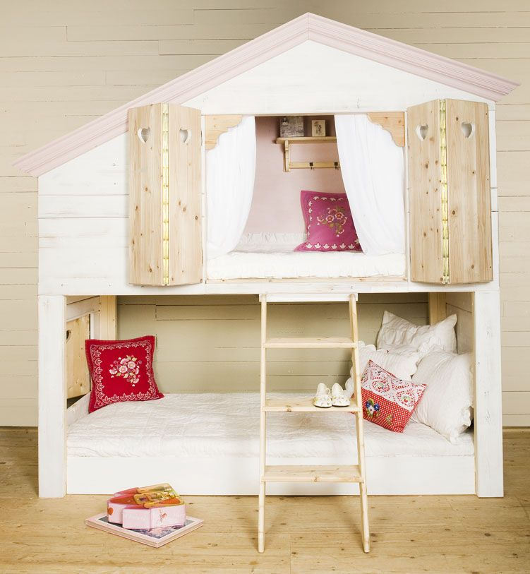 Kids Bedroom : Awesome Bunk Beds Design For Kids Room   Cool Girl Bunk Beds  Design With White Tree House Shaped And Minimalist Ladder