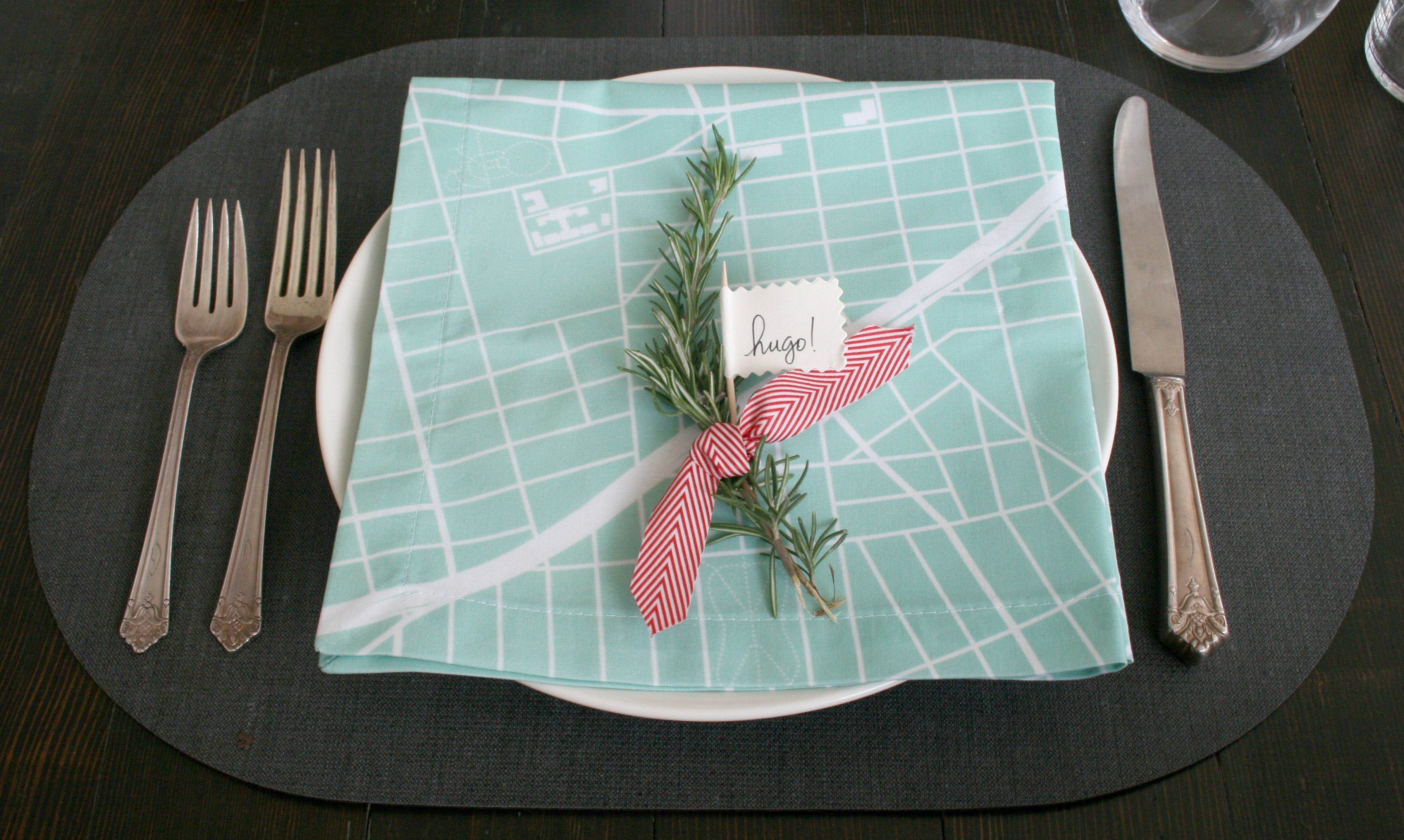 Holiday tabletop for modern clean aesthetic map napkins featuring your own neighborhood from soft