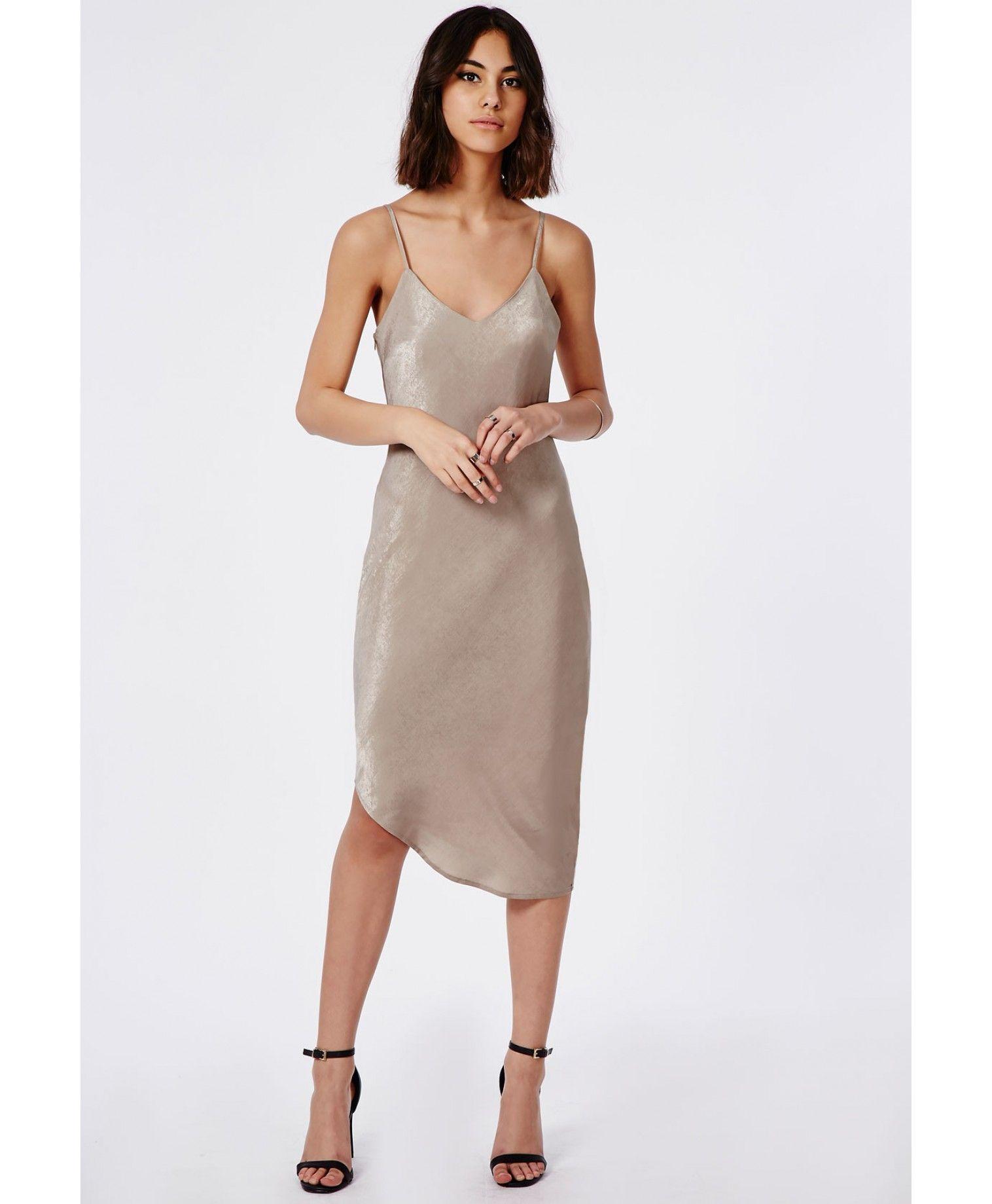 Silky Asymmetric Slip Dress Taupe - Dresses - Cami Dresses - Missguided
