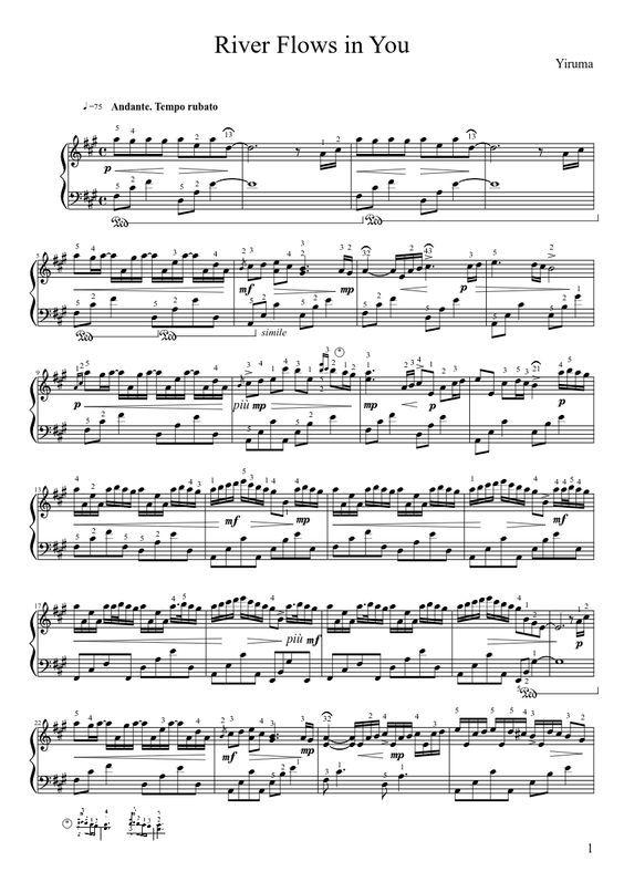 River Flows Through You Piano Sheet Music Peopledavidjoel
