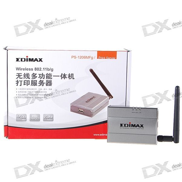 EDIMAX PS-1206MFg Wired RJ45 + Wireless Wifi B/G Network USB Printer Server (Supports All-in-Ones)
